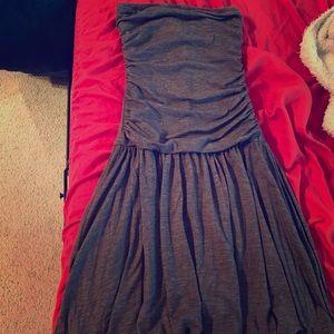 Aqua grey strapless bubble dress
